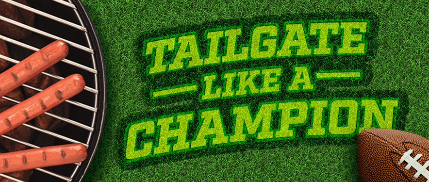 "green field with text overlay ""tailgate like a champion"""