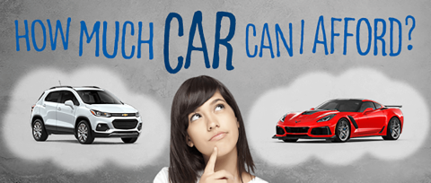 "A woman considers two vehicles, a red Corvette and a white Chevrolet Trax both in thought bubbles, above a text overlay ""How much car can I afford?"