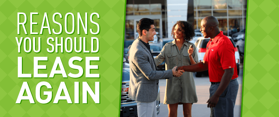 "Happy couple shaking hands with a salesperson, with text overlay ""Reasons you Should Lease Again."""