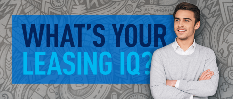 "Man looking thoughtful while standing in front of a text overlay ""What's your Leasing IQ?"""