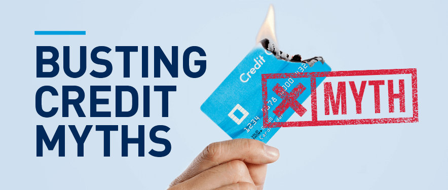"Credit card burning with a text overlay ""Busting Credit Myths"""