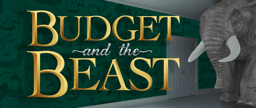 "Enormous elephant entering room with gold text overlay ""Budget and the Beast"""