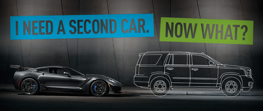 "outline of a second car with text overlay, ""I Need A Second Car. Now What?"""