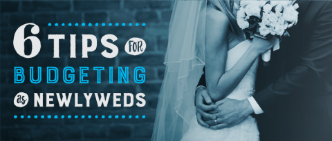 Newlyweds embracing with text overlay stating '6 tips for budgeting as newlyweds'