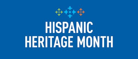 Hispanic Heritage Month text overlay on blue background