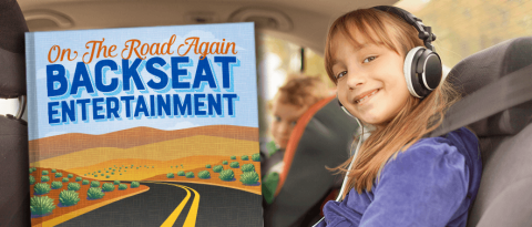 "happy kids in a car on road trip with a book titled ""On the Road Again Backseat Entertainment"""