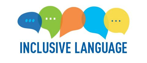 Inclusive Language image with icons for text, web and phone