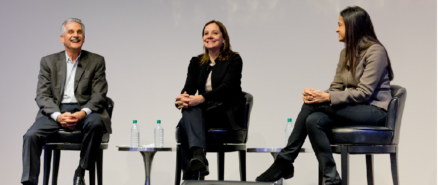 Dan Berce, Mary Barra and Dhivya Suryadevara participating a QA panel.